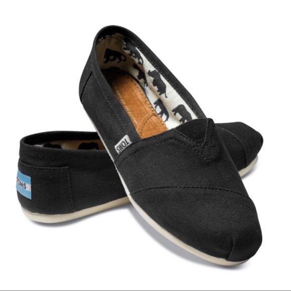 967661499774 Toms Classics Canvas Black Casual Slip On Flats